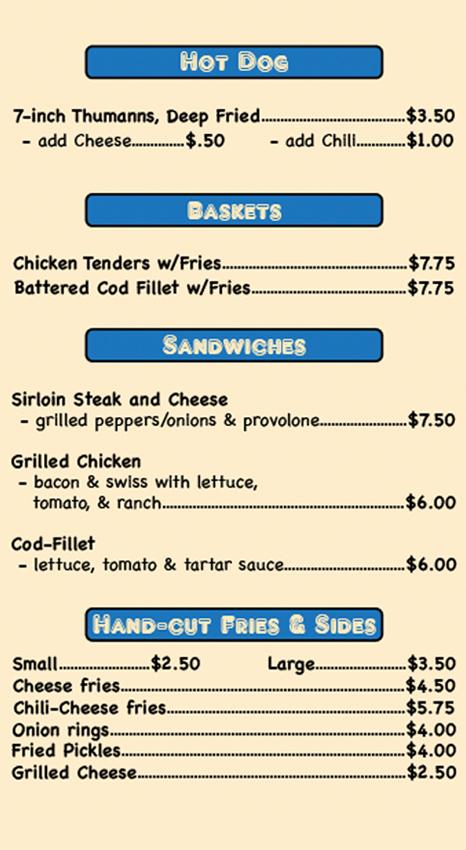 The Burger Shop menu-print